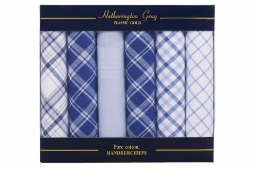Mixed Blue Check and Plain Dyed Handkerchiefs
